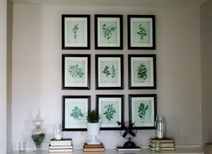 Botanical Prints 3x3 On Wall