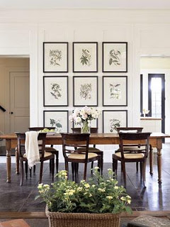 Dining Room With Botanical Prints