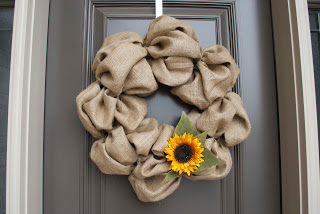 DIY Burlap Wreath On Door Close