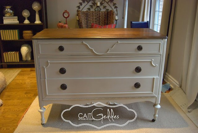 Buffet Stained Top With Chalk Finish Paint On Drawers