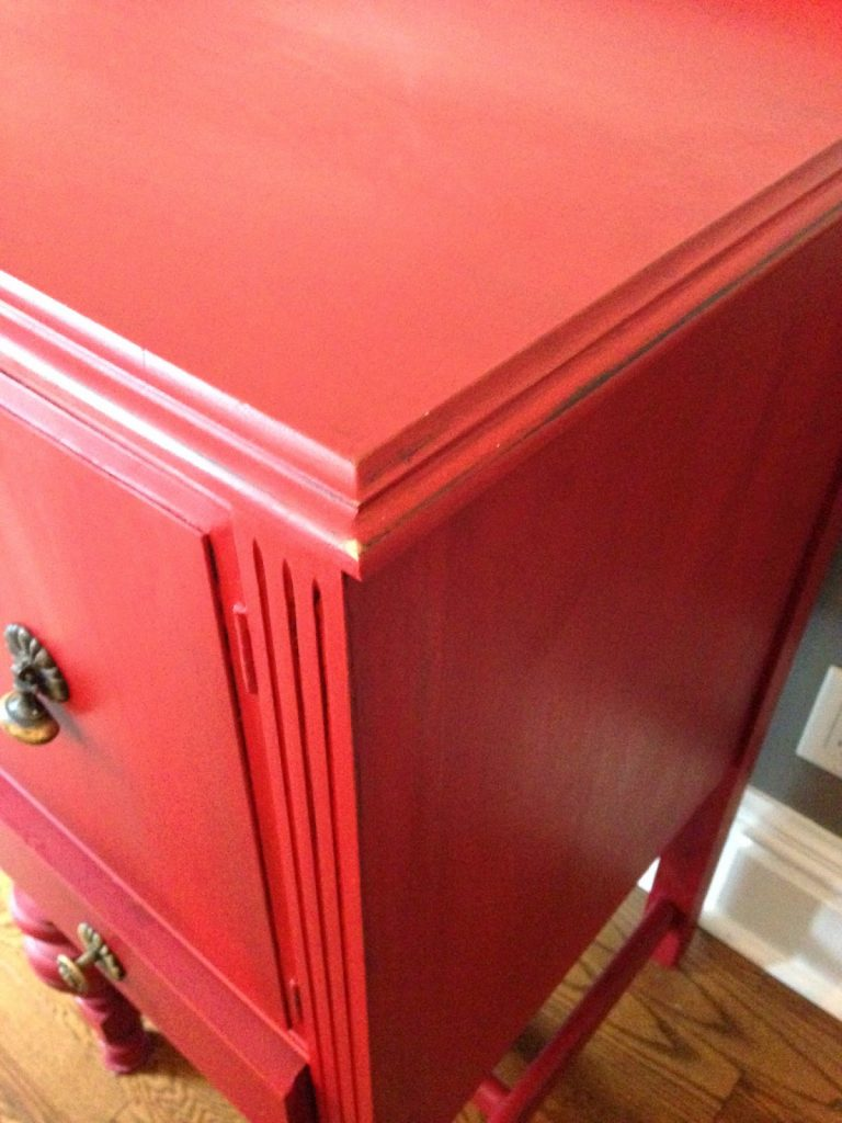 Buffet Painted Red With Chalk Finish Paint