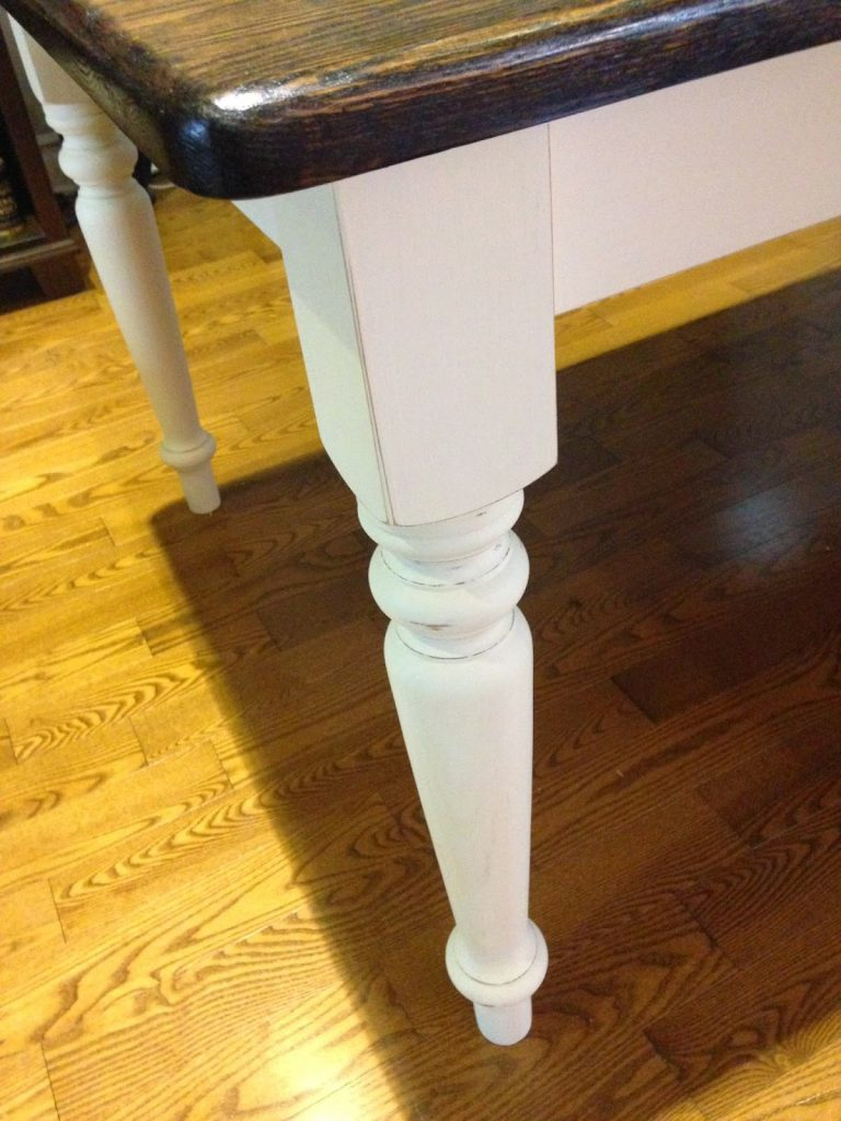 Oak Table With Stained Top And White Chalk Finish Paint