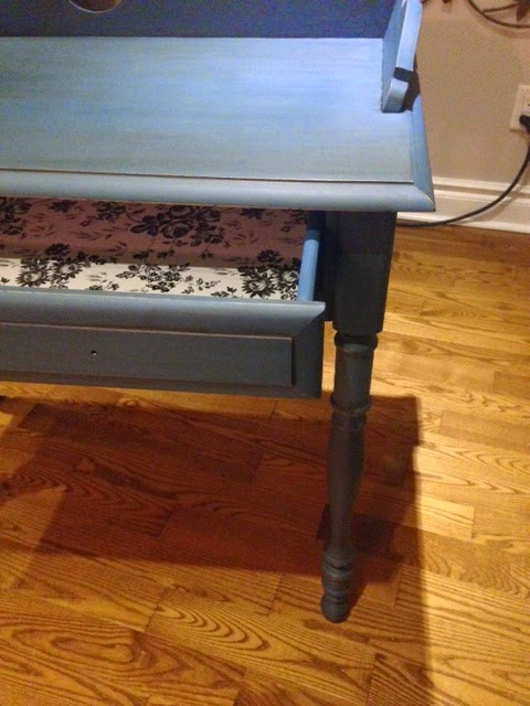 Side Table Painted With Blue Chalk Finish Paint