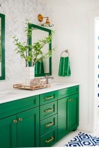 green mirror green towel green sink
