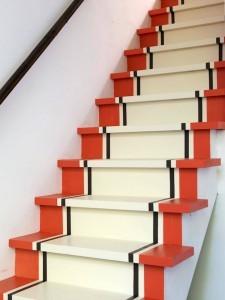 stairs orange black and white