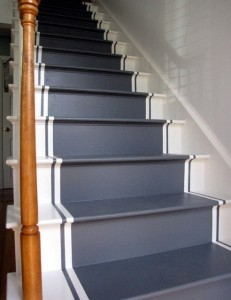 navy blue and white stairs