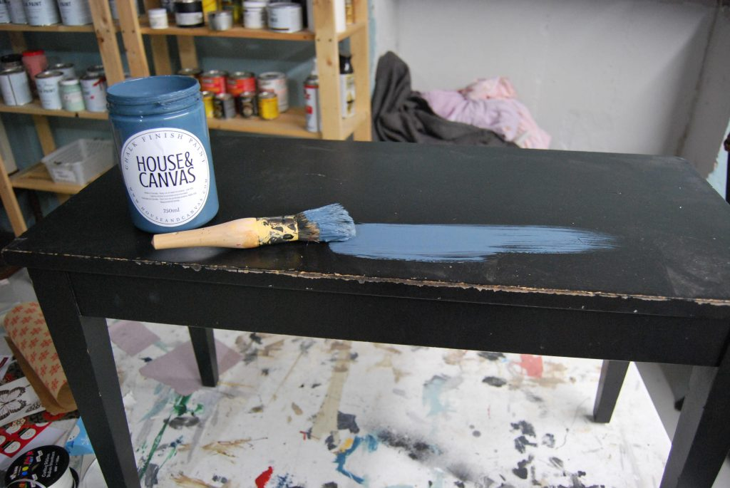 Industrial Blue Painted on Bench