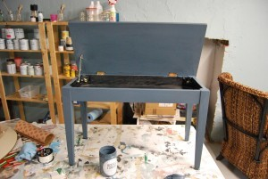 yamaha piano bench open painted with house&canvas industrial blue