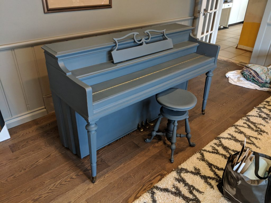 Piano Painted Blue With Chalk Finish Paint