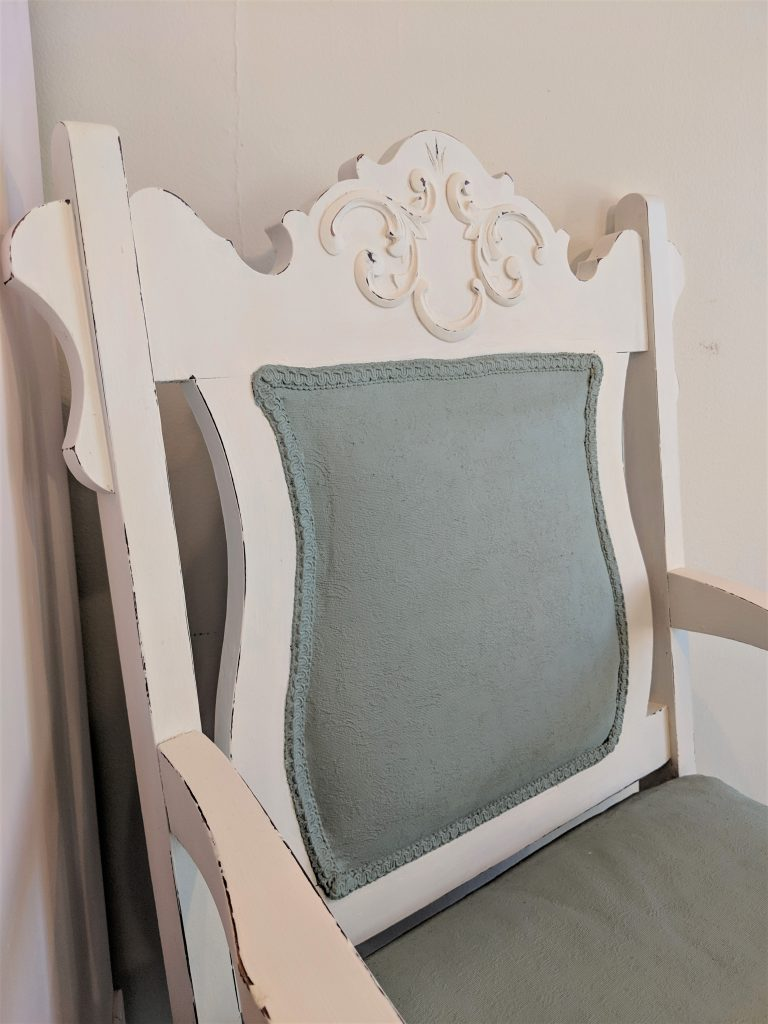 Antique Upholstered Chair Painted With Chalk Finish Paint