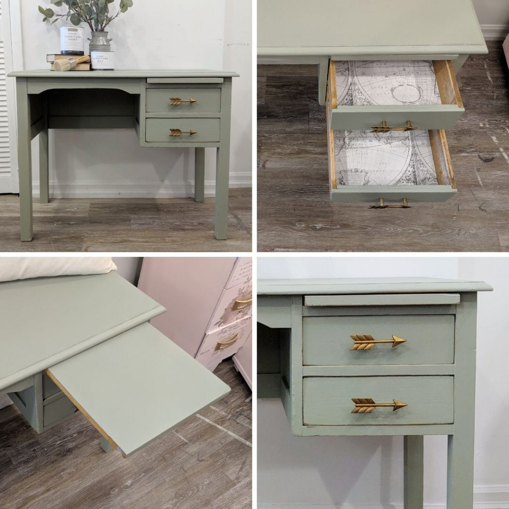 Painting And Refinishing A Small Wood Desk With Chalk Finish Paint