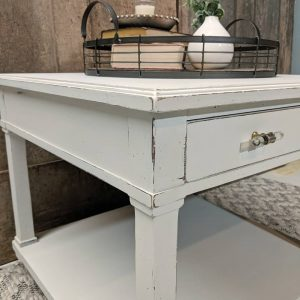 Side Table Painted With White Chalk Finish Paint