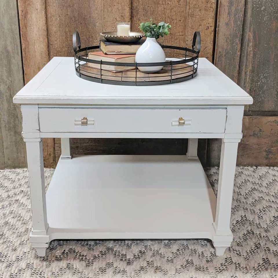 Desk painted in angora white with crystal drawer pulls