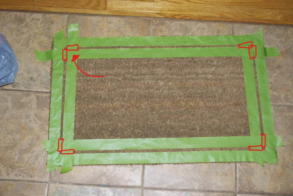 custom door mat cut tape