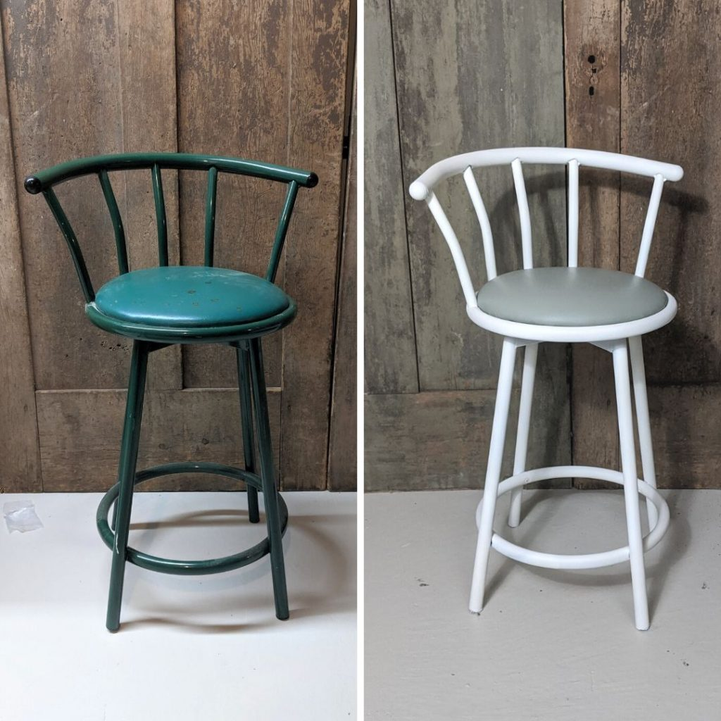 How To Paint A Metal And Vinyl Barstool