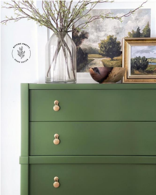 green dresser with gold pulls