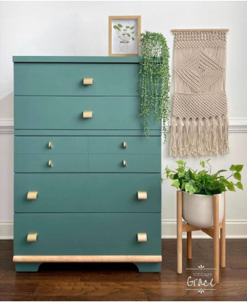 teal dresser with gold pulls