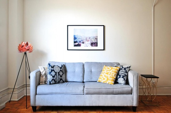 couch with art piece