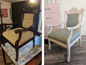 Upholstered Chair Chalk Finish Paint